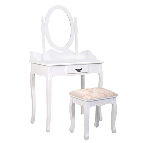Giantex Vanity Makeup Table Set Girls Chic Modern Style with Glass Mirror Drawer Ladies Large Make Vanity Dressing Table for Women w/Cushioned Stool Bench (White)
