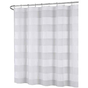 White Fabric Shower Curtain Wide Stripe Design 70 X 72