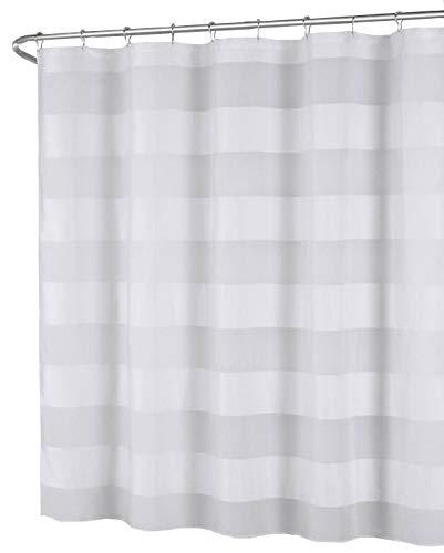 White Fabric Shower Curtain: Wide Stripe Design, 70