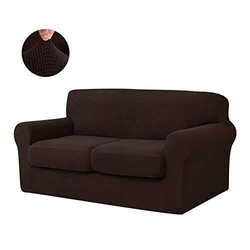 CHUN YI Stretch Sofa Slipcover Separate Cushion Couch Cover, Armchair Loveseat Replacement Coat for Ektorp Universal Sleeper, Checks Spandex Jacquard Fabric (Medium,Chocolate)