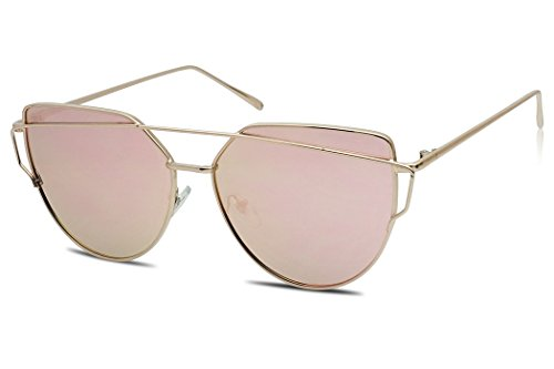 XL Oversized Oceanic Two Tone Gradient Flat Lens Gold Metal Frame Cat Eye Sunglasses (Gold, Pink Mirrored - Cute Mirrored Sunglasses