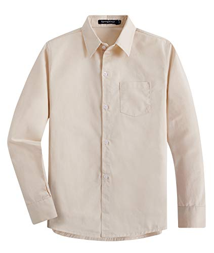 - Spring&Gege Boys' Long Sleeve Solid Formal Cotton Twill Dress Shirts Light Beige 5-6 Years