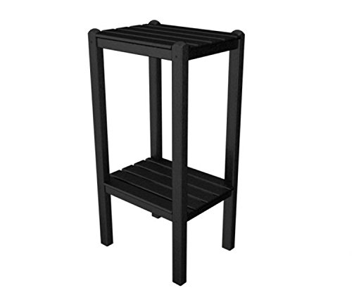 36'' Recycled Earth-Friendly Outdoor Patio Black Two-Shelf Bar Side Table by Eco-Friendly Furnishings