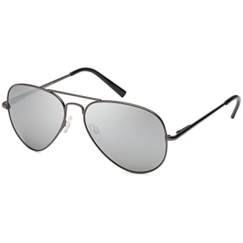 Steel Polarized Gray Mirror - JETPAL Men & Womens Aviator UV400 Sunglasses - Normal Mirror Silver Lens Gray Frame