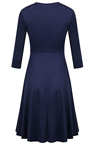 Flare Midi Dress Qearal 3 Round Womens A Navy Casual Blue Sleeve Neck 4 Line WPwP0v1rq