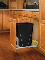 Chrome base/Black Baskets Single Bottom Mount Waste Containers With Door mounting Hardware, 10-5/8