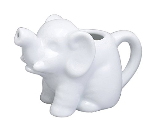 - HIC Harold Import Co. NT1096 HIC Mini Elephant Creamer Coffee Tea Milk Syrup Dressing Server with Handle, Fine White Porcelain, 2-Ounces