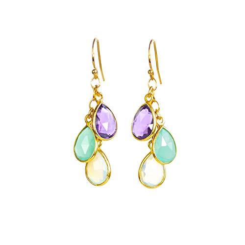 Custom Birthstone earrings for mom, dangle long earrings, drop earrings, birthday gifts for mom, grandmother gift, mother earrings, small teardrop cascade earrings