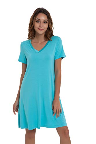 NEIWAI Women's Nightgowns Bamboo Sleep Shirt Short Lounge Dress Emerald Green 3X