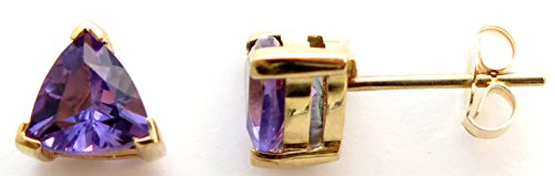 14K Solid Yellow Gold Genuine AAA Amethyst Trillion cut Stud Earrings