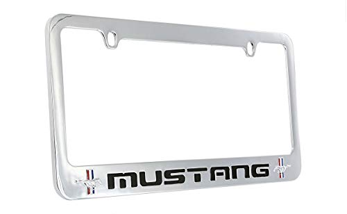 Ford Mustang Wordmark Chrome Plated Metal License Plate Frame Holder