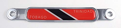 (Trinidad and Tobago Flag Chrome Emblem Screw On car License Plate Decal Badge)