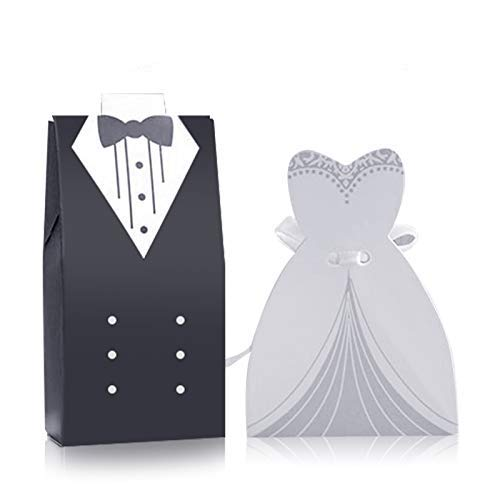 G2PLUS 100PCS Wedding Candy Box, Wedding Favor Boxes Candy Favor Boxes with Ribbon Perfect for for Wedding Party Birthday Bridal Baby Shower Decoration (Bride Favor Boxes And Groom)
