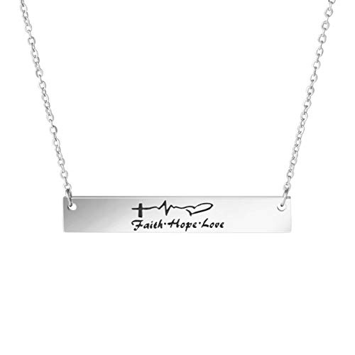 Awegift Faith Hope Love Inspirational Pendant Bar Necklace Women Gift Jewelry