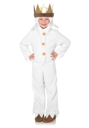 Leg Avenue Kids Max Hooded Pajamas with Tail & Attached Crown Head Piece, Cream, X-Small