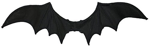 Bat Fairy Costume (Jacobson Hat Company Halloween Costume Accessory Bat Wings with Elastic Straps,Black,One)