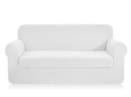 CHUN YI Jacquard Sofa Covers 2-Piece Stretch Polyester Spandex Fabric Couch Slipcover, 3 Seater Cushion Sofa Furniture Protector for Couch (Sofa, White)