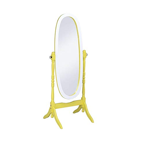 ORE International N4001-YEL/WH Oval Cheval Standing Mirror, Yellow/White ()