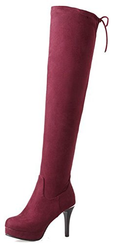 IDIFU Womens Elegant Round Toe Side Zipper Faux Suede Above Knee High Boots With Stiletto Heel Wine Red 7KXSss9ybq