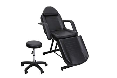 Salon Style Multi-function Basic Facial Chair with Free Stool Facial Bed Massage Table Tattoo Massage Facial Table Bed Chair Barber Beauty Spa Salon Equipment Black