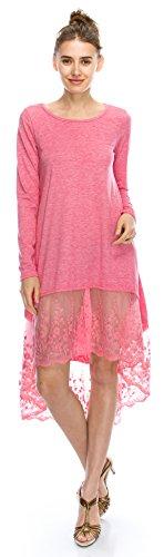 Angel Cola Womens Long Sleeve Cotton Floral Lace Asymmetrical Dress Pink 2XL