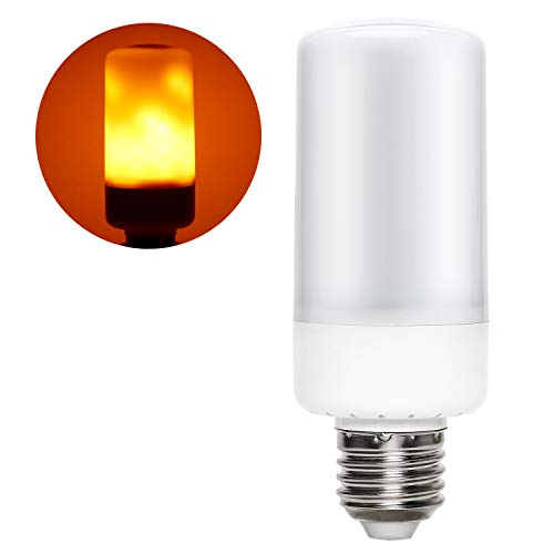 iTimo LED Flame Light Blub, 5W E26 Amber Simulated Fire Flickering Effect Lamp, 3 Modes Atmosphere Lighting for Home/Bar, Replacement of Porch Wall Desk Floor Lights Source ()