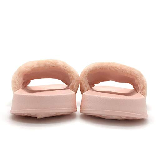 Fuzzy Comfort Slippers Cute Pink Fur Slides Faux Women's Funkymonkey Flat Sandals xBf7TF7