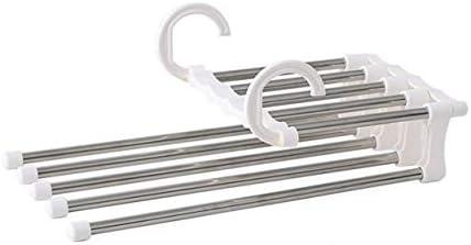 Kurphy multifunctionele broek kast hanger vijf in een rekken broek hanger droogrekken draagbare kleding staatwit