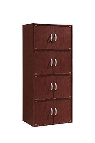 (Hodedah 8 Door, Four Shelves, Enclosed Storage Cabinet, Mahogany )