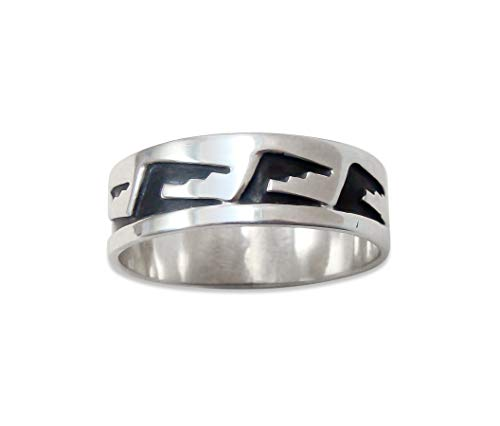 Firebird Jewelers Navajo Sterling Silver Overlay Band Ring Size 16