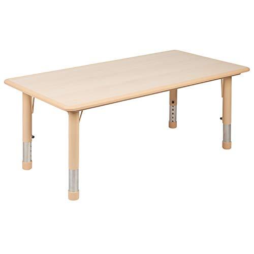 Flash Furniture 23.625″W x 47.25″L Rectangular Natural Plastic Height Adjustable Activity Table