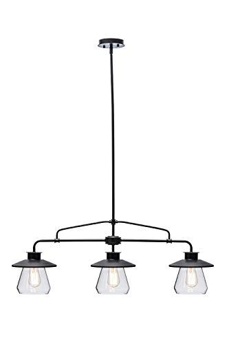 Globe Electric 64845 Nate 3-Light Pendant, Bronze, Oil Rubbed Finish, Clear Glass Shades (Certified Refurbished)