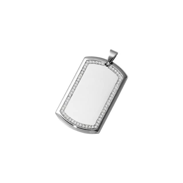 Mens Womens Stainless Steel Dog Tag Pendant Framed with CZs