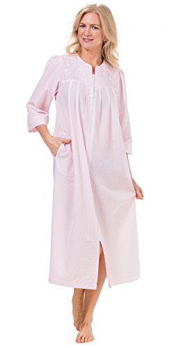 rsucker Long Embroidered Zip Robe In Peach Stripe (Peach Stripe, 2X) (Embroidered Seersucker)