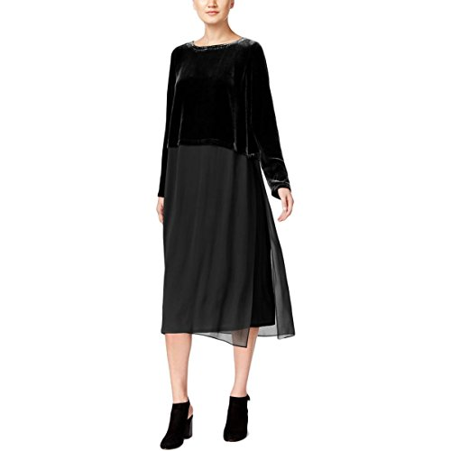 Eileen Fisher Womens Velvet Sheer Casual Dress Black L