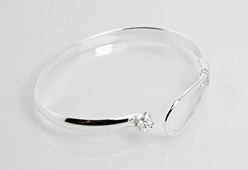 925 Sterling Silver plated Cuff Bangle Bracelet Fashionable Rose pattern Chain Bracelets by Marrywindix