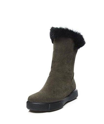ArmyGreen boots Round boots a base boots ZQ snow warm head large a female number of flat QX with handset winter axvq5HB