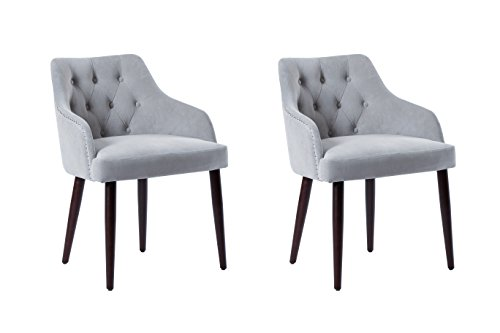 Fabric Tufted Upholestered Dining Chairs - Accent Living Room Chair with Arms, Solid Wood Legs and Nailhead by Caojin (Set of 2), Grey