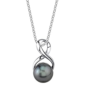 Cultured Pearl Pendant Necklace for Women in Sterling Silver, Infinity Design with Black Tahitian South Sea Pearl – THE…