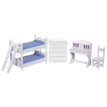 White Bunk Bed Dollhouse Miniature Set