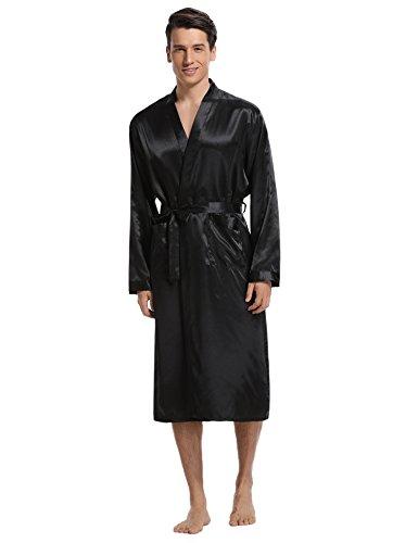 Aibrou Men's Satin Robe Long Bathrobe Lightweight Sleepwear,X-Large,Black (Satin Men Robe)