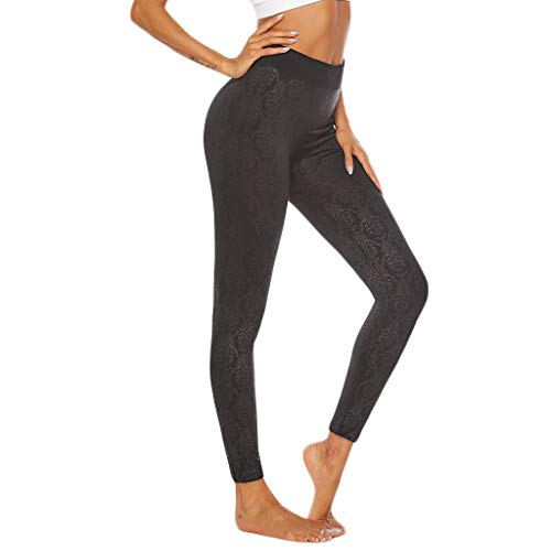 (Yetou Women's High-Waist Athletic Stretch Pants Hip Stretch Running Fitness Yoga Pants Black)