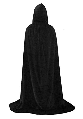 [Hooded Cloak Top Quality Cape Play Costume Black Velvet Medium] (Hot Halloween Costumes Devil)