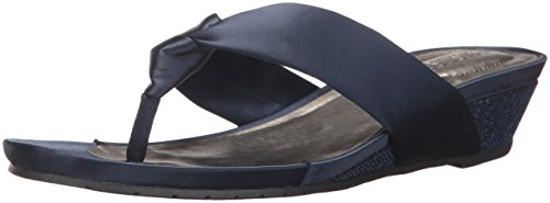 - Kenneth Cole REACTION Women's Date Low Wedge Thong Sandal Satin, Navy, 7.5 M US