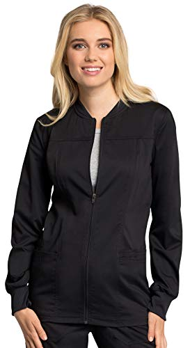(Cherokee WW Revolution Tech WW305AB Women's Zip Front Warm-Up Jacket Black XS)