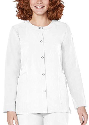 - Adar Addition Scrubs for Women- Snap Front Warm Up Scrub Jacket - A5202 - Fresh White - S