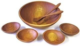 product image for 17 inch Solid Cherry Bowl Set - 5 Bowls with Servers - Holland Bowl Mill