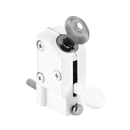 Defender Security U 9884 Sliding Door Lock, Keyed, Step-on, White Finish - Defenders Step