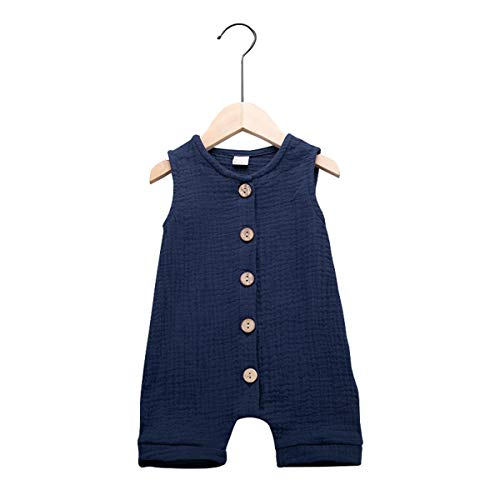 (Infant Newborn Baby Boys Girls Cotton Linen Romper Summer Jumpsuit Sleeveless Overalls Clothing Set (Blue, 6-12 Months) )