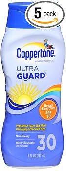 - Coppertone UltraGuard Sunscreen Lotion SPF 30 - 8 oz, Pack of 5